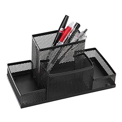 Kreativer modischer Stiftehalter Netz Schreibtisch-Organizer Drahtgeflecht Stiftebehälter Stifteköcher Schreibwaren-Aufbewahrungsbox Tisch Organizer 4-in-1 Stifthalter, Schwarz