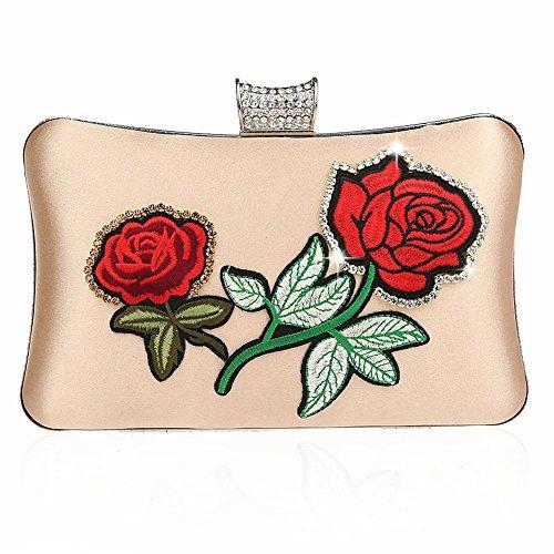 Frauen Abendtasche Strass Handtasche Stickerei Bankett Partei Hochzeit Kupplung Geldbörse. 20 X 11 X4Cm apricot