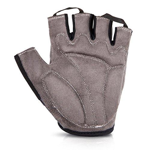 iCreat Damen / Herren Kurze Rennrad Handschuhe Power Fahrrad Active Gloves mit Geleinlage Grau, Größe M - 4