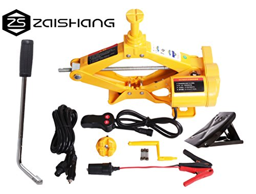 Gato para levantar hasta 12 toneladas de ZS ZAISHANG, de 12 V, elevador para el coche eléctrico de 12,5 - 42 cm, con toma de corriente y manivela