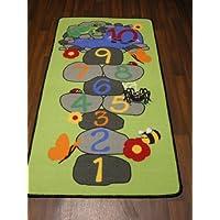 Non Slip Kids Green Pebbles Hop Scotch Playmat / Rug 80cm x 150cm