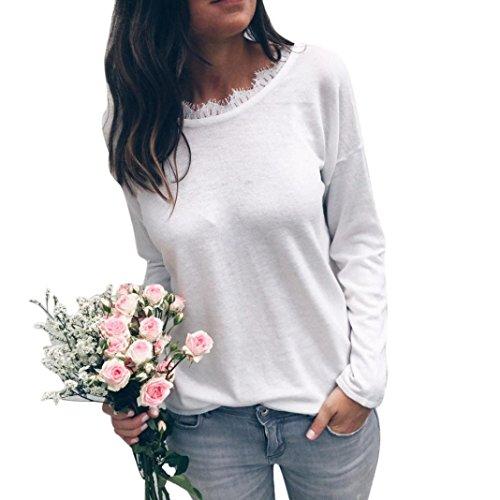 JUTOO Mode Frauen Damen Bluse Tops Kleidung T-Shirt(Weiß,EU:48/CN:L)