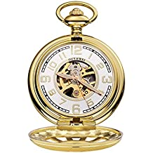 Wollways Pocket Watch for Men with Chain - Mechanical Hand Wind Pocket Watch Engraved Arabic Numerals(Golden)