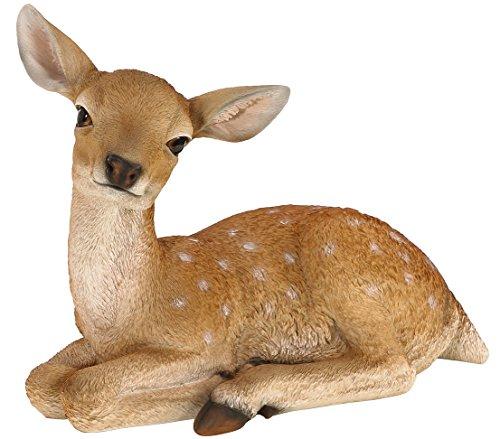 Dehner Dekofigur Bambi liegend, ca. 45 x 36.5 x 23.5 cm, Polyresin, braun