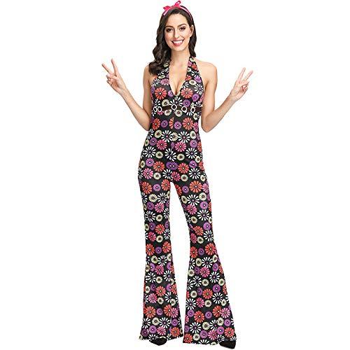 COSOER Hip Hop Sängerin Cosplay Paar Kostüm 90er Jahre Retro Floral Performance Kleidung Für Halloween Männlich/Weiblich Wear,Female-XL (Paare Kostüm Der 90er Jahre)