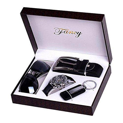 Geschenke Set für Mäner, Geschenkset mit PU Leder Quarz Analog Armbanduhr, Geschenkbox mitGürtel, Sonnenbrille, Schlüsselanhänger Schlüsselbund mit Box Geschenke Set für Männer Papa Vatertag Schwarz