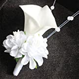 White Calla Corsage flowers Rose Groom s...