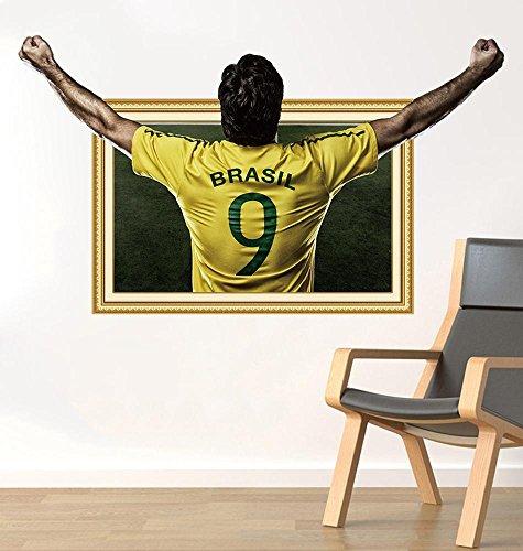 Mkxiaowei 3D dreidimensionale Fußball Aufkleber Poster Aufkleber College Wohnheim Dekoration Wandbild (Poster College-wohnheim)