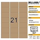 Mr-Label 210 Blank Brown Kraft Etiketten - 63.5x38.1mm - für Laser- und Inkjet-Drucker - 10 Blatt