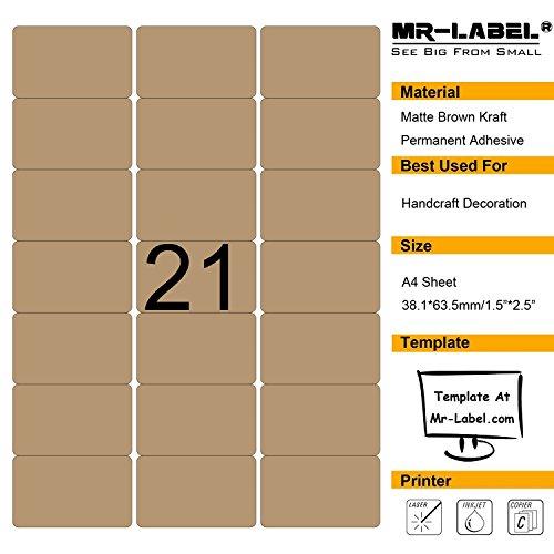 Mr-Label Blank Brown Kraft Labels - 63.5x38.1mm - For Laser and Inkjet Printer - A4 Sheet (10 sheets/210 labels)