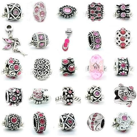 SEXY SPARKLES da donna, confezione da 10, colori assortiti, 10 pezzi, con strass e perline per braccialetti, a forma di