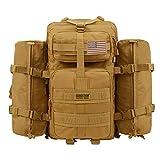 Seibertron Falcon Taktischer Militärischer Rucksack Kompakt Angriff für Wandern Reisen Trekking Tasche Tactical Bag Assault Backpack Military Camping Pack Outdoor Daypacks (Khaki 37L(1+ 2))