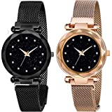 TIMESOON Analogue Girl's Watch (Black Dial Rose Gold, Purple & Black Colored Strap)