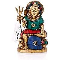 Craftvatika Lord Shiva scultura statua religiosa indù Barss Shiv Figurine applique