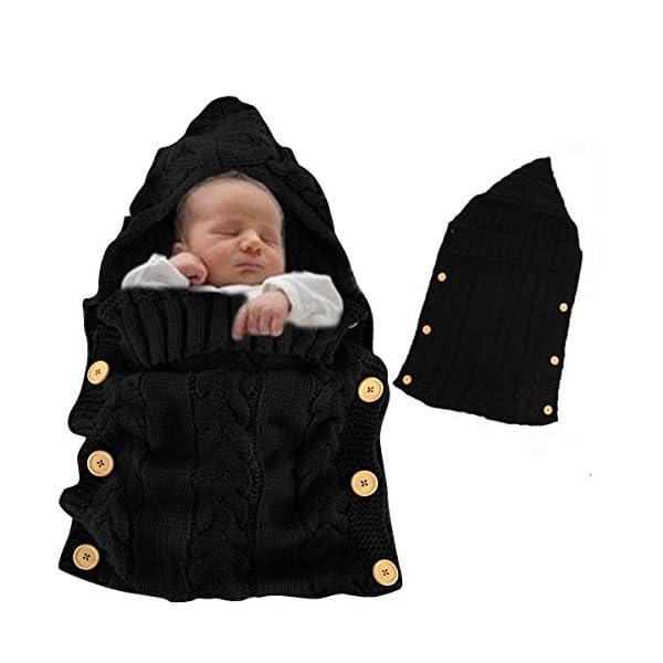 Baby Swaddle, Vandot Unisex Envelope Newborn Babies Toddle Infant Sleeping Bags Light Weight Soft Warm Crochet Knitted Blanket Swaddling Sleep Sack Stroller Wrap Moses Basket Pushchairs Bunting Bags for Stroller Prams Buggies Bike Trailer Car Seats Photo Props Blankets - GREY GRAY (0-12 Months)