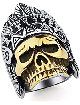 DALARAN Herren Edelstahl Ringe Indian Chief Schädel Kopfband für Männer Jungen Skeleton Ring Silber Gold