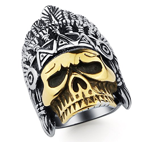 Mens Titanium Ringe Cool Skeleton Indian Chief Bands für Jungen Männer Zubehör Golden (Indian Kostüm Boy)
