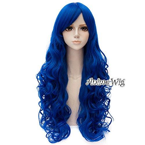 Top Cosplay 80cm Cosplay Perücke Wig Lang perücke Mädchen Locken lockig Blau (Lockige Blaue Perücke)