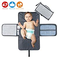 Idepet Portable Nappy Changing Mat,Waterproof Diaper Changing Pad with Head Cushion Pockets,Foldable Infant Urinal Pad Baby Changing Kit for Home Travel Outside ...