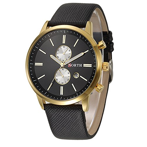 Relojes de Hombre - NORTH moda hombres casual delicado diseno fecha cuero de la PU militar reloj regalo Negro+Oro