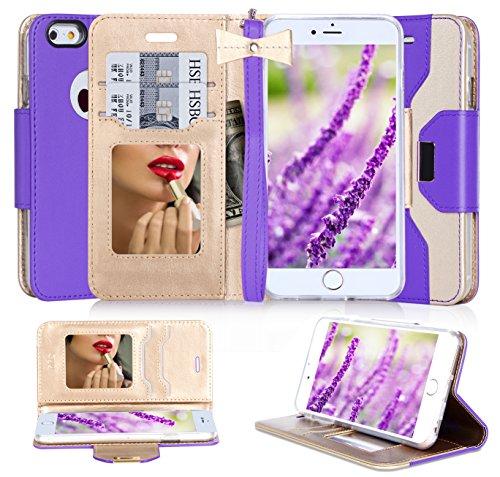 FYY iPhone 6S Schutzhülle, iPhone 6Fall, Premium PU Leder Wallet Case mit Kosmetik Spiegel und Schleife Strap für Apple iPhone 6S/iPhone 6(11,9cm), Kunstleder, Purple & Gold, 6 / 6S (4.7 inch) (Fall Schleife Mit 6 Iphone)