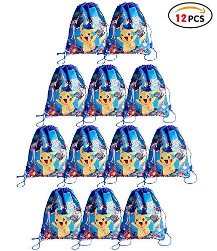 Qemsele borse per bambini borse sacca 12 pcs, zaino con coulisse sacchettini del per bambini e adulti festa di compleanno bambini bomboniare borsa sacchetto festa (pikachu, w10 * h12)
