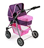 Bayer Chic 2000 591 40 - Kombi-Puppenwagen 'Speedy' 2 in 1, Dots Purple Pink
