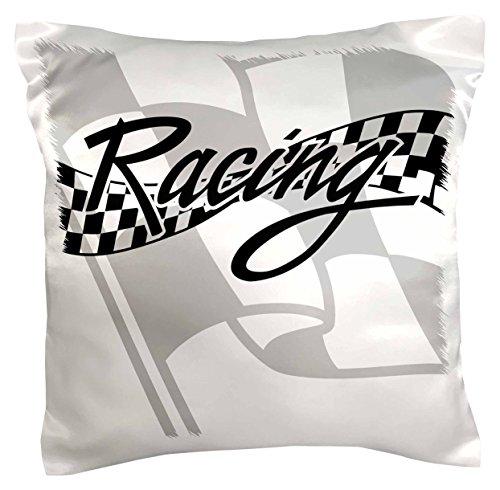 (3dRose PC 99325_ 1Racing schwarz und weiß kariert Flag-Pillow Fall, 16von 40,6cm)