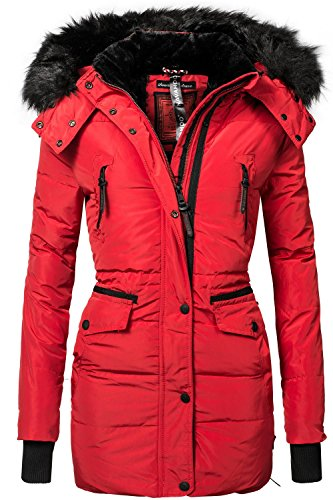 Navahoo Damen Jacke Wintermantel Winterparka Sesa (vegan hergestellt) Rot Gr. XL (Rote Kapuzen-jacke)