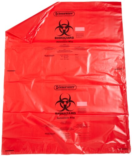 Bel-Art Products 131643848 Biohazard Waste Disposal Bag with Sterilization Indicator Patch, 40 to 55 gal Capacity, Polypropylene, 38