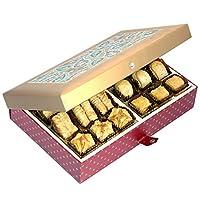 Valentine Gifts Ghasitaram Gifts Sweets - Gold Printed 24 Pcs Baklava Sweets Box