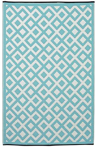 Fab Hab - Marina - Eierschalenblau & Strahlend Weiß - Teppich/ Matte für den Innen- und Außenbereich (150 cm x 240 cm) (Marine-indoor-outdoor-teppich)