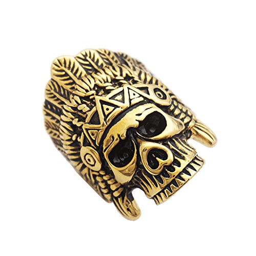 Baoblaze Indian Skull Ring Edelstahl Ring Punk Herren Biker Gothic Schmuck Größe 7 8 9 10 11 12 13 - Größe 8 (Kostüm Schmuck Ringe Größe 10)