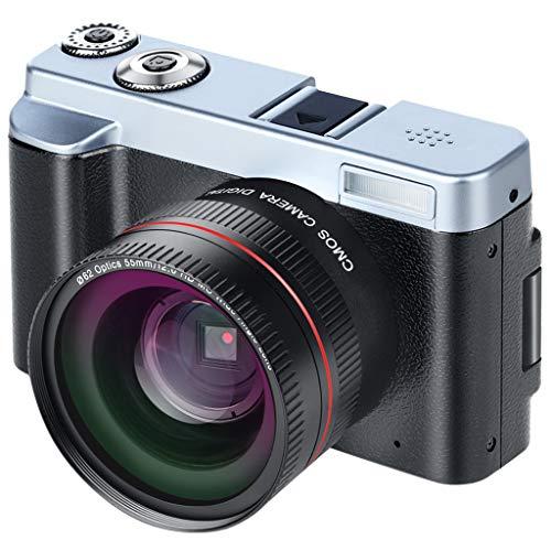 Felicy Digitalkamera Vlogging Camera Camcorder mit 24MP Full HD WiFi-Kamera 3,0 Zoll 180-Grad-Drehung Flip-Screen (Schwarz)