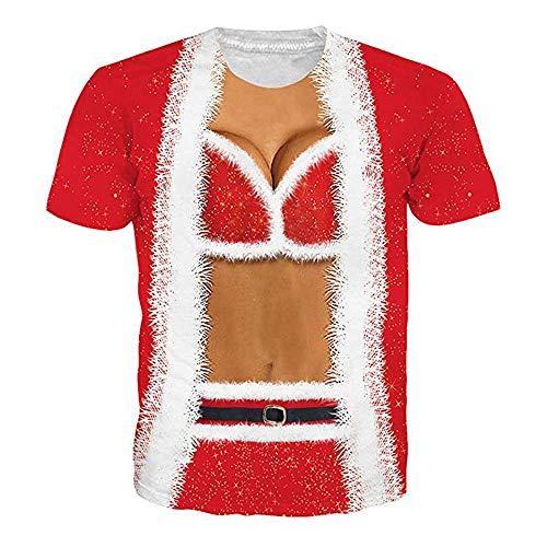Trisee Unisex Tops Lustig T-Shirts Fitness Muskel Oberteile Sweatshirt Weihnachten Muster 3D Bedruckte Hemdbluse Outdoor Funktionsshirt Oversize Laufshirt Trainingsshirt für Weihnachtsparty