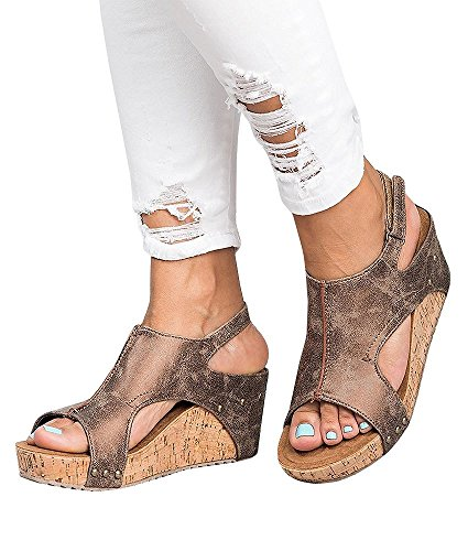 Sandalias Mujer Cuña Alpargatas Plataforma Bohemias Romanas Mares Playa Gladiador Verano Tacon Planas Zapatos Zapatillas Beige Negro 34-43 BR41