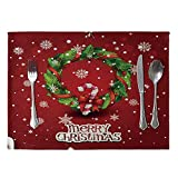 DERKOLY Weihnachten Schneemann Elk Muster Leinen Tischset Esstisch Pad Wärmedämmung Matte Küche hitzebeständig Pad Geschirr Pad Decor 2#