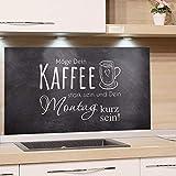 GRAZDesign Küchenrückwand Glas Grau, Glasrückwand Küche Bar, Rückwand Küche Kaffee, Küchen Spritzschutz Herd Küchenspruch / 100x50cm
