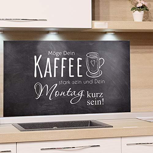 GRAZDesign Wandpaneele Küche Bar, Fliesenspiegel Küche Kaffee, Glasrückwand Küche Küchenspruch, Küchenrückwand Glas Grau / 60x40cm