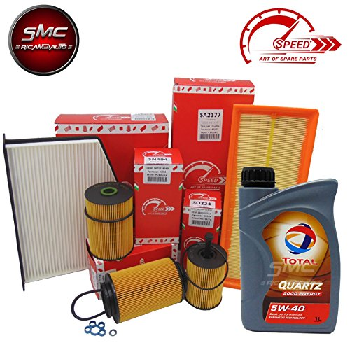 KIT TAGLIANDO CON FILTRI ORIGINALI SPEED BY SMC + 4 LITRI OLIO MOTORE TOTAL QUARTZ 5W40 (SO239, SA2210, SRN236, SE1397)
