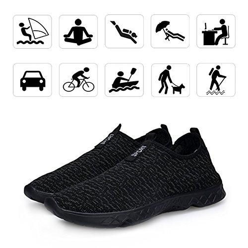 KEALUX Scarpe Uomo Acqua Leggera con Freni Di Drenaggio Sulla Sneaker a Camminare Bottom Sport Acqua Quick-Dry Sport Barefoot Shoes per Attività Acquatiche Nero