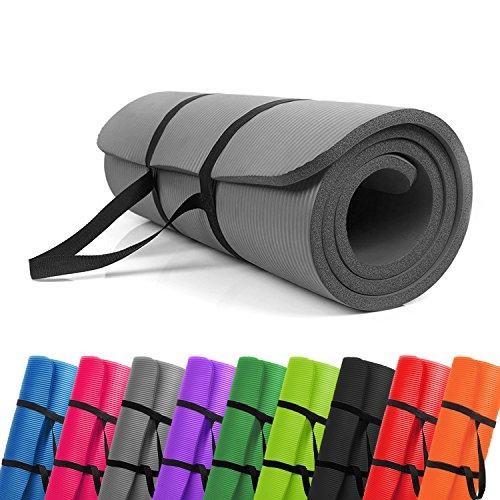PROMIC Trainingsmatte, Yogamatte, 183 cm x 61 cm x 1,5 cm Pilates Matte, für Yoga, Pilates und Andere Trainings zu Hause und Studio, Rutschfeste Gymnastikmatte mit Tragegürtel, Grau