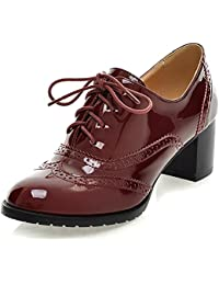 Odema Classic Brogue Oxford Shoes para Mujer con Cordones Wingtip Chunky High Heel Booties