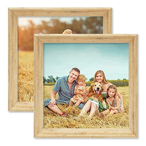 PHOTOLINI 2er Set Vintage Bilderrahmen Shabby-Chic Eiche 20x20 cm Massivholz mit Glasscheibe und Zubehör/Fotorahmen/Portraitrahmen