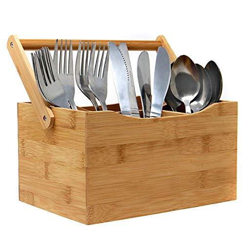 Bambusgeschirr Besteckhalter | 4 Einrichten von Fächern für Besteck und Gewürze | Einfacher, herunterklappbarer Griff | Perfekt für Zuhause oder Restaurants | M&W -