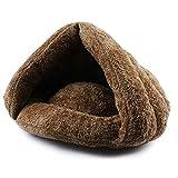 Lit de chat souple, chaton et chiot cave chaude, maison pour chats et chien conception de cabane de sommeil 50x40x30cm (Marron)