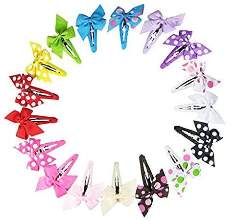 HipGirl Boutique Girls 17pc 4cm Small Pinwheel Hair Bow Snap Clips, Barrettes