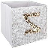 PEGANE Lot de 4 Bacs de Rangement en Sequin doré Blanc - 24 x 23 x 24 cm