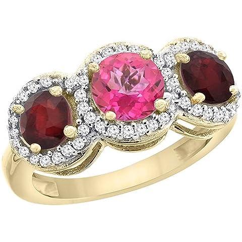 Revoni 9in oro giallo o bianco naturale topazio rosa e diamanti Anello lati 3-Stone Rubino Enhanced accenti, taglia