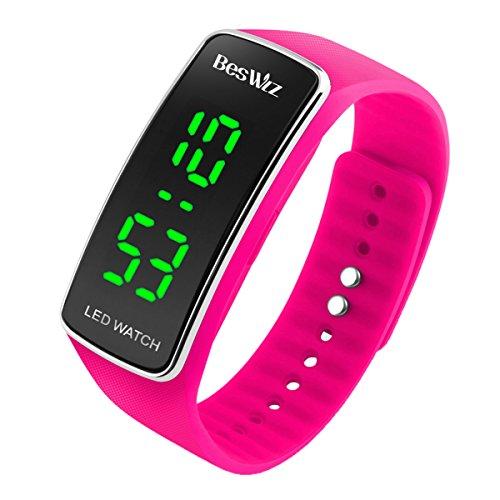 BesWLZ Unisex Kinder Digitaluhr Wasserdichte Sport Armbanduhr für Jungen Uhr Mädchen Kinderuhren (Pink)